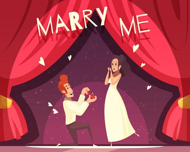 Ilustração dos desenhos animados de casamento