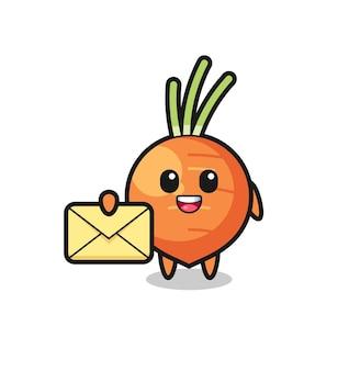 Ilustração dos desenhos animados de cenoura segurando uma letra amarela, design de estilo fofo para camiseta, adesivo, elemento de logotipo