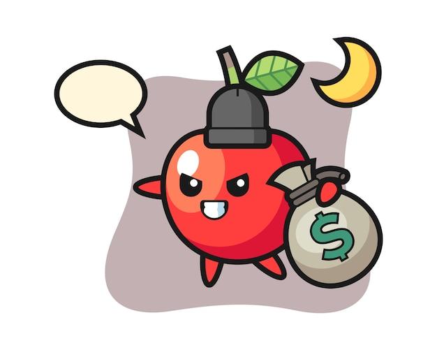 Ilustração dos desenhos animados de cereja é roubado o dinheiro, design de estilo bonito