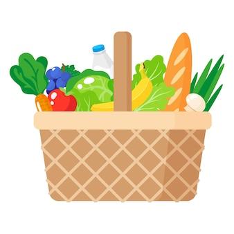 Ilustração dos desenhos animados de cesta de piquenique de vime com alimentos orgânicos saudáveis isolados no fundo branco