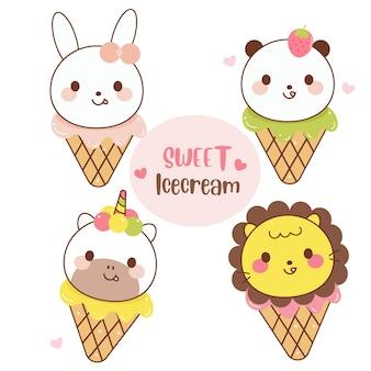 Ilustração dos desenhos animados de coleção de sorvete animal