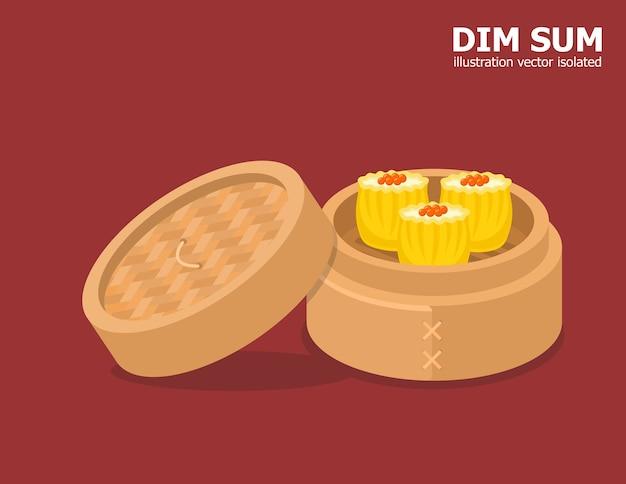 Ilustração dos desenhos animados de comida chinesa dim sum na tigela de bambu.
