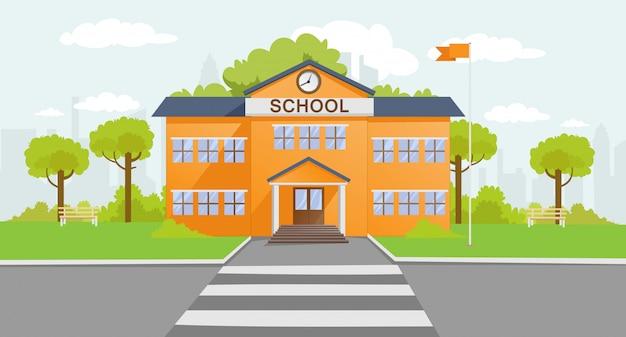 Ilustração dos desenhos animados de construção de escola
