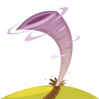 Ilustração dos desenhos animados de cor retratando a ilustração vetorial de tornado