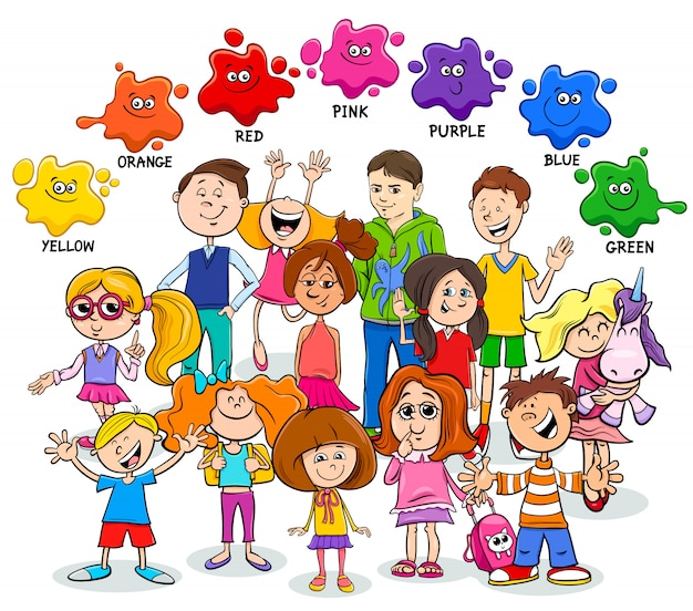 Ilustração dos desenhos animados de cores básicas com crianças