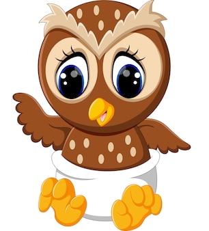 Ilustração dos desenhos animados de coruja de bebê