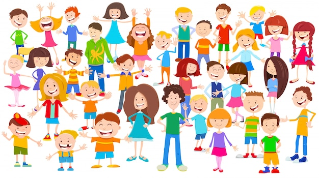 Ilustração dos desenhos animados de crianças e adolescentes multidão