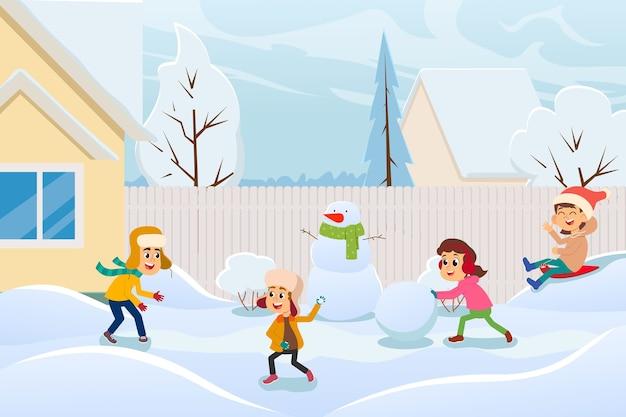 Ilustração dos desenhos animados de crianças fazendo um boneco de neve e outra diversão de inverno ao ar livre em um dia de neve