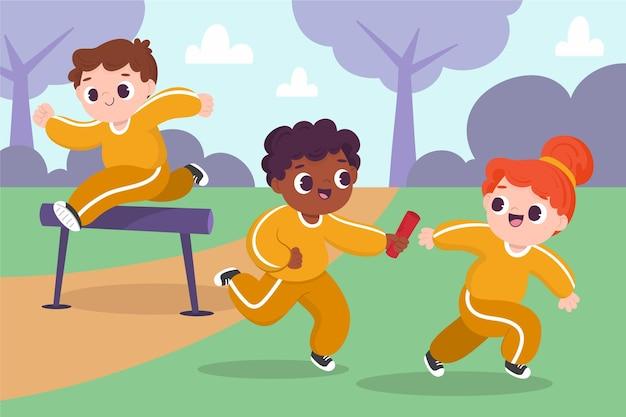 Ilustração dos desenhos animados de crianças na aula de educação física