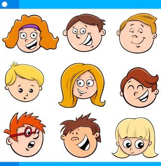 Ilustração dos desenhos animados de crianças ou conjunto de cabeças de adolescente