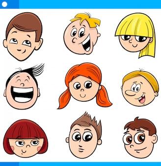 Ilustração dos desenhos animados de crianças ou conjunto de caras adolescentes