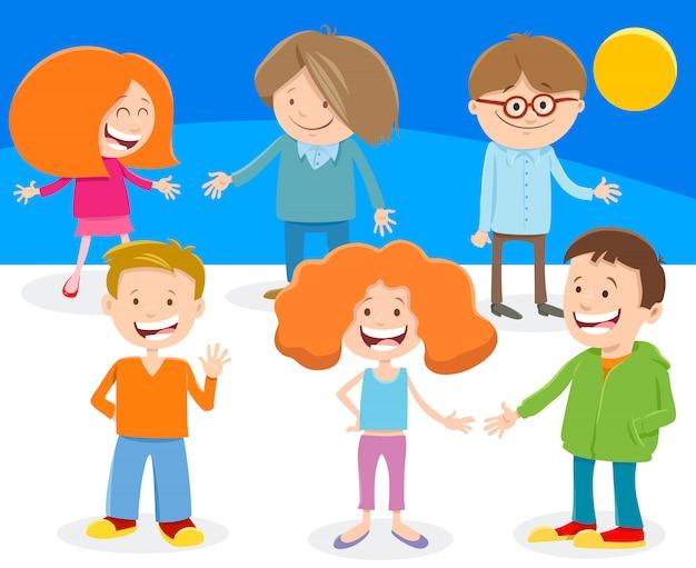 Ilustração dos desenhos animados de crianças ou grupo de adolescentes