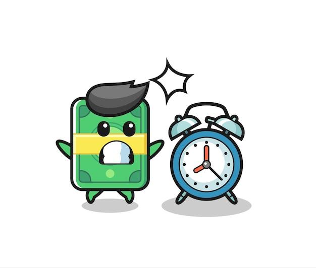 Ilustração dos desenhos animados de dinheiro é surpreendida com um despertador gigante, design de estilo fofo para camiseta, adesivo, elemento de logotipo