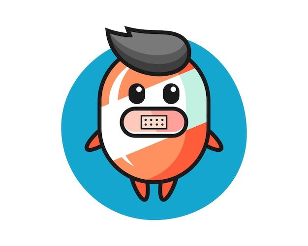 Ilustração dos desenhos animados de doces com fita adesiva na boca
