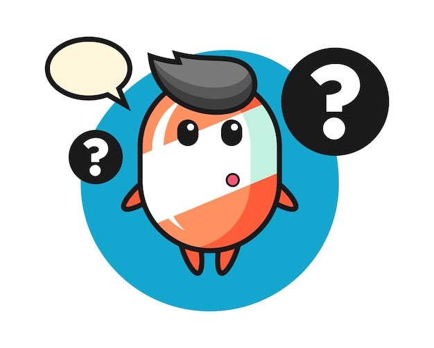 Ilustração dos desenhos animados de doces com o ponto de interrogação