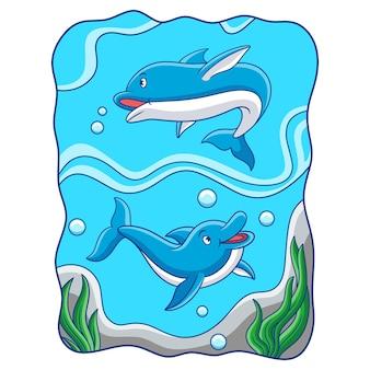 Ilustração dos desenhos animados de dois golfinhos brincando no mar