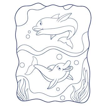 Ilustração dos desenhos animados de dois golfinhos voando no mar livro ou página para crianças em preto e branco