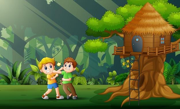 Ilustração dos desenhos animados de dois meninos lutando