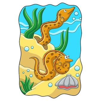 Ilustração dos desenhos animados de duas enguias do mar brincando no recife de coral