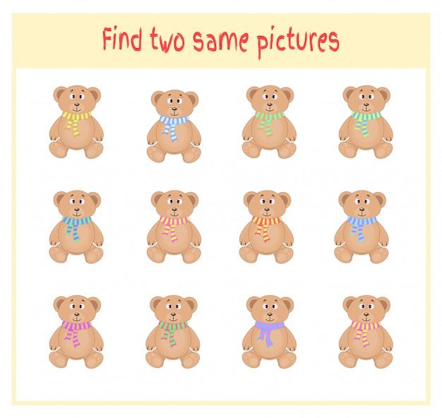 Ilustração dos desenhos animados de encontrar duas exatamente as mesmas fotos