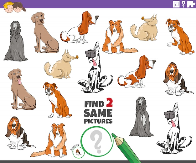 Ilustração dos desenhos animados de encontrar duas mesmas imagens jogo educativo para crianças com personagens de animais de cães de raça pura