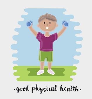 Ilustração dos desenhos animados de exercícios físicos de menino com halteres