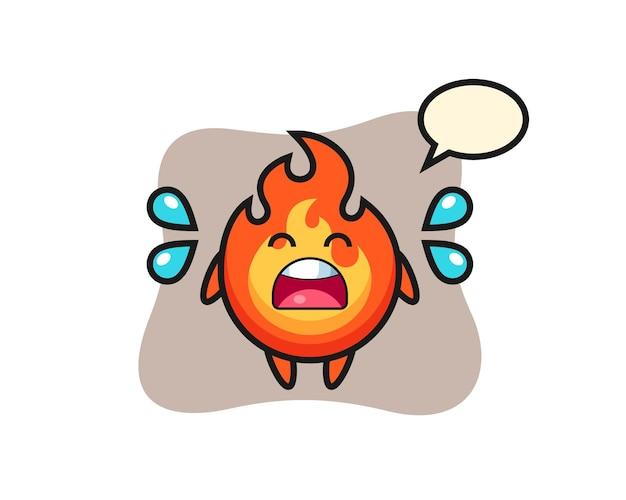 Ilustração dos desenhos animados de fogo com gesto de choro, design de estilo fofo para camiseta, adesivo, elemento de logotipo