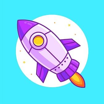 Ilustração dos desenhos animados de foguete ou nave espacial isolada ilustração do ícone do logotipo do vetor do espaço em estilo simples