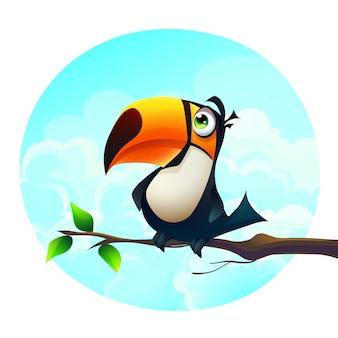 Ilustração dos desenhos animados de fundo de um papagaio engraçado em um galho