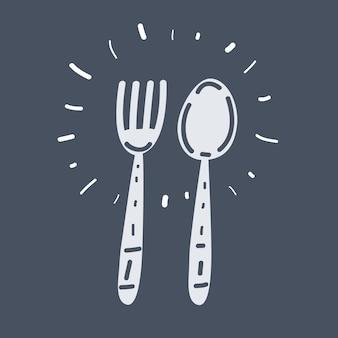 Ilustração dos desenhos animados de garfo e colher - símbolos brancos de talheres em fundo escuro.