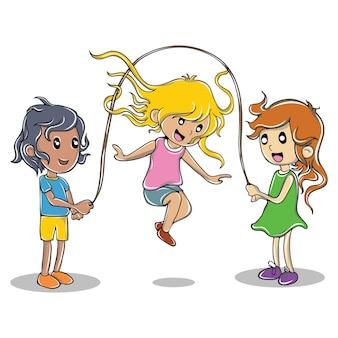 Ilustração dos desenhos animados de garotas bonitas jogando.