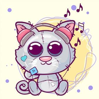 Ilustração dos desenhos animados de gatinho fofo