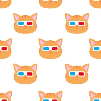 Ilustração dos desenhos animados de gato com óculos padrão sem emenda