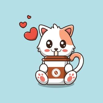 Ilustração dos desenhos animados de gato fofo bebendo café
