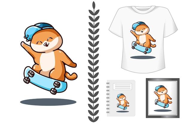 Ilustração dos desenhos animados de gato fofo com chapéu