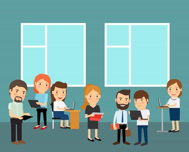 Ilustração dos desenhos animados de grande escritório