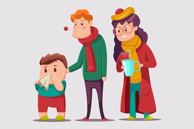 Ilustração dos desenhos animados de gripes e resfriados. caráter de família doente.