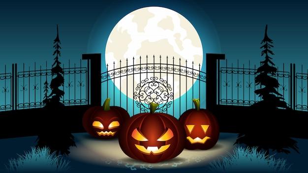 Ilustração dos desenhos animados de halloween. lanterna de abóbora