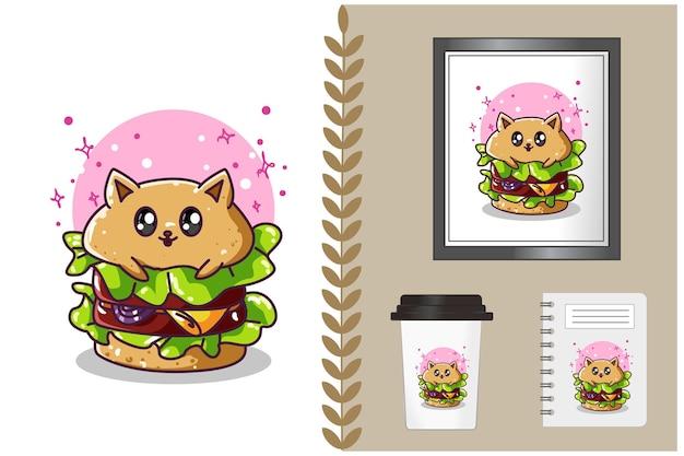 Ilustração dos desenhos animados de hambúrguer fofo