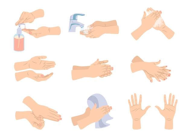 Ilustração dos desenhos animados de higiene das mãos
