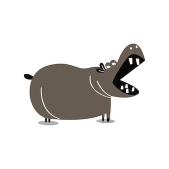 Ilustração dos desenhos animados de hipopótamo selvagem bonito