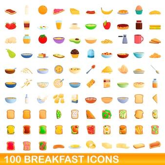 Ilustração dos desenhos animados de ícones de café da manhã isolados no fundo branco