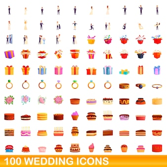Ilustração dos desenhos animados de ícones de casamento isolados no fundo branco