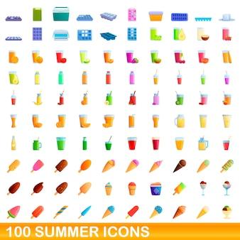 Ilustração dos desenhos animados de ícones de verão isolados no fundo branco