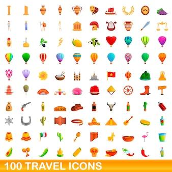Ilustração dos desenhos animados de ícones de viagens isolados no fundo branco