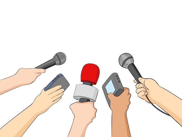Ilustração dos desenhos animados de jornalistas