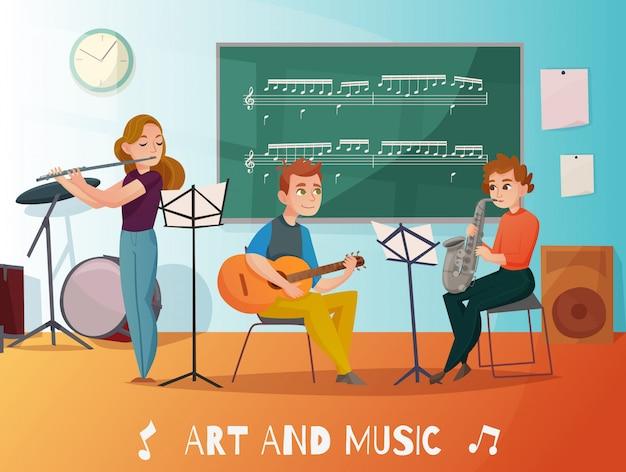 Ilustração dos desenhos animados de lição de música