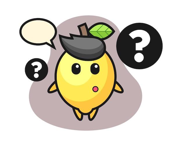 Ilustração dos desenhos animados de limão com o ponto de interrogação