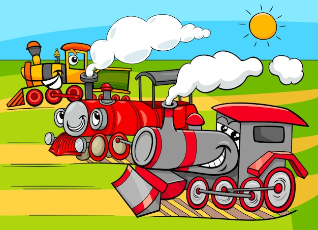 Ilustração dos desenhos animados de locomotivas a vapor