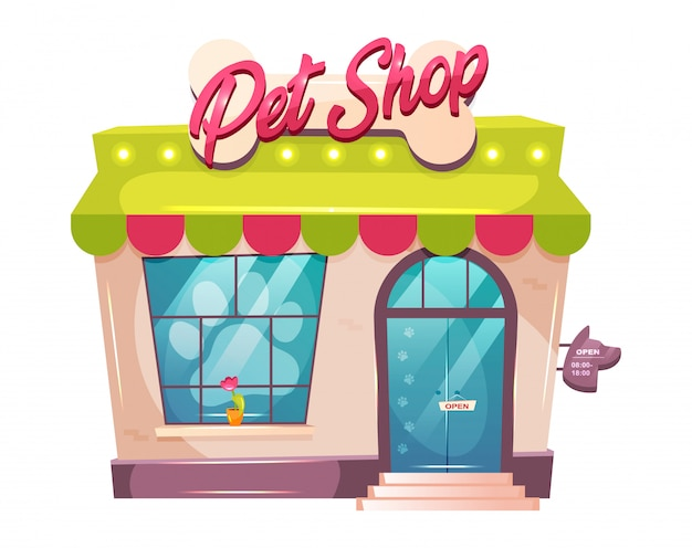 Ilustração dos desenhos animados de loja de animais